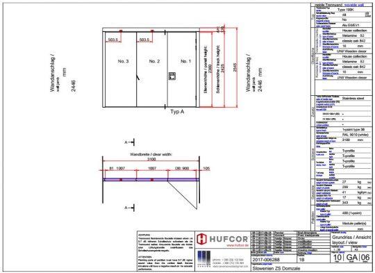 Načrt izvedbe premične stene